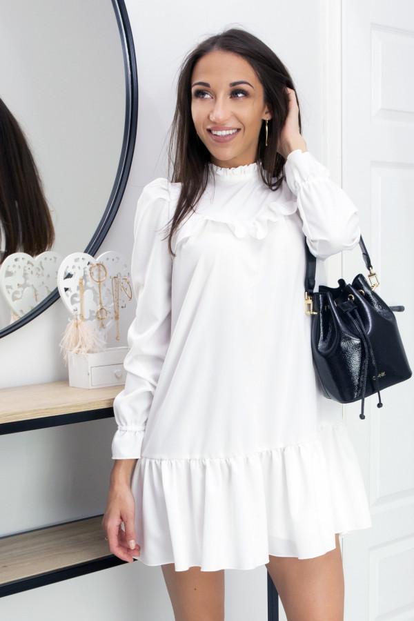 Sukienka z falbanką Oversize Umbrella White