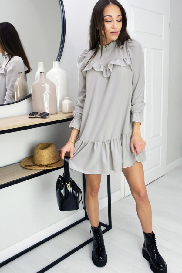 Sukienka z falbanką Oversize Umbrella Grey