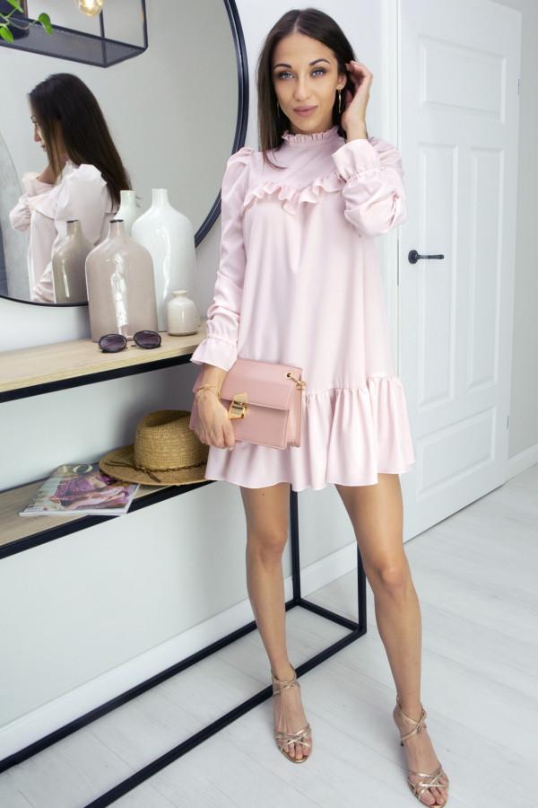 Sukienka z falbanką Oversize Umbrella Pink