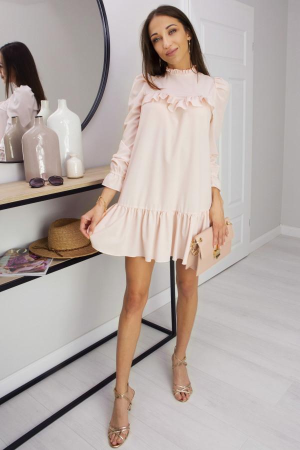 Sukienka z falbanką Oversize Umbrella Peach