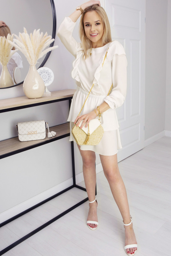 Sukienka z falbankami Lea Ecru
