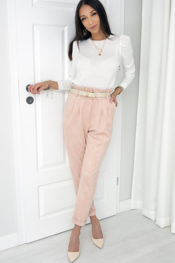 Blado różowe spodnie zamszowe London