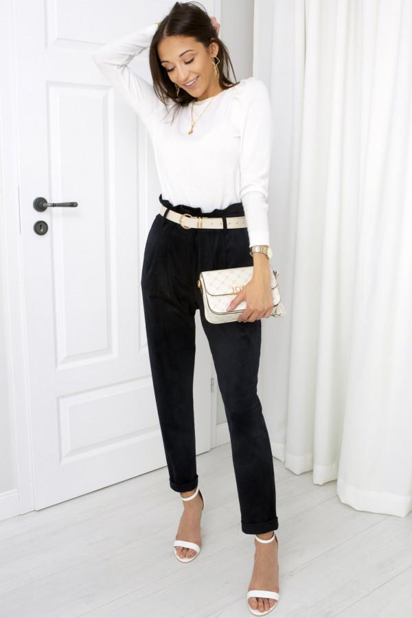 Ciemno grantowe spodnie zamszowe London
