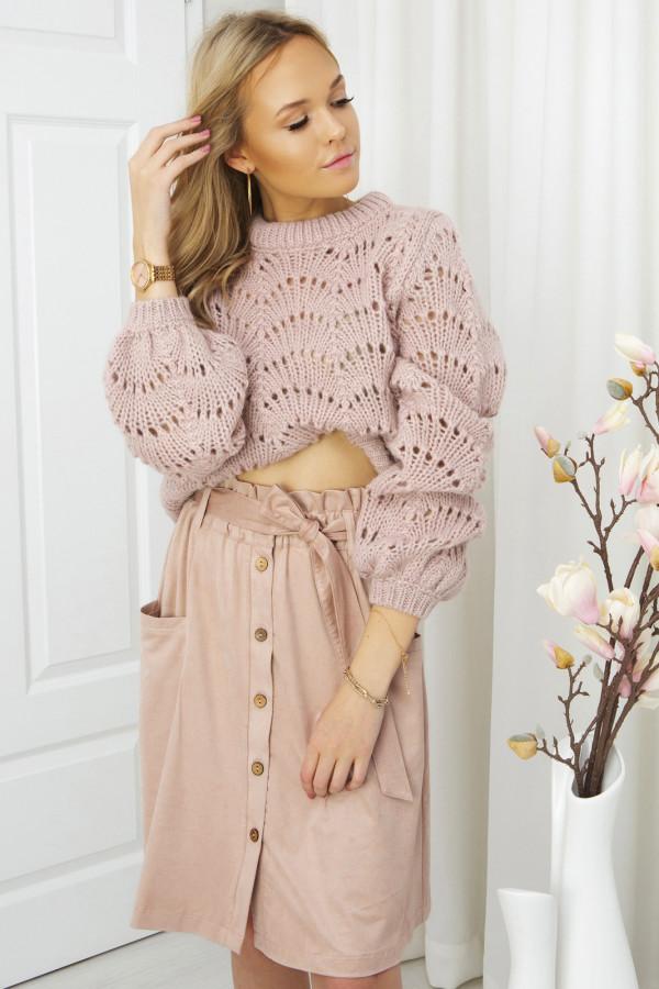 spódnica szmizjerka z guzikami - pudrowy róż