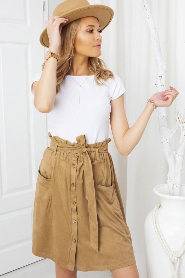 spódnica szmizjerka z guzikami - cynamon
