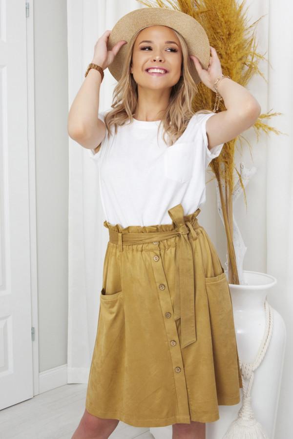 spódnica szmizjerka z guzikami - miód
