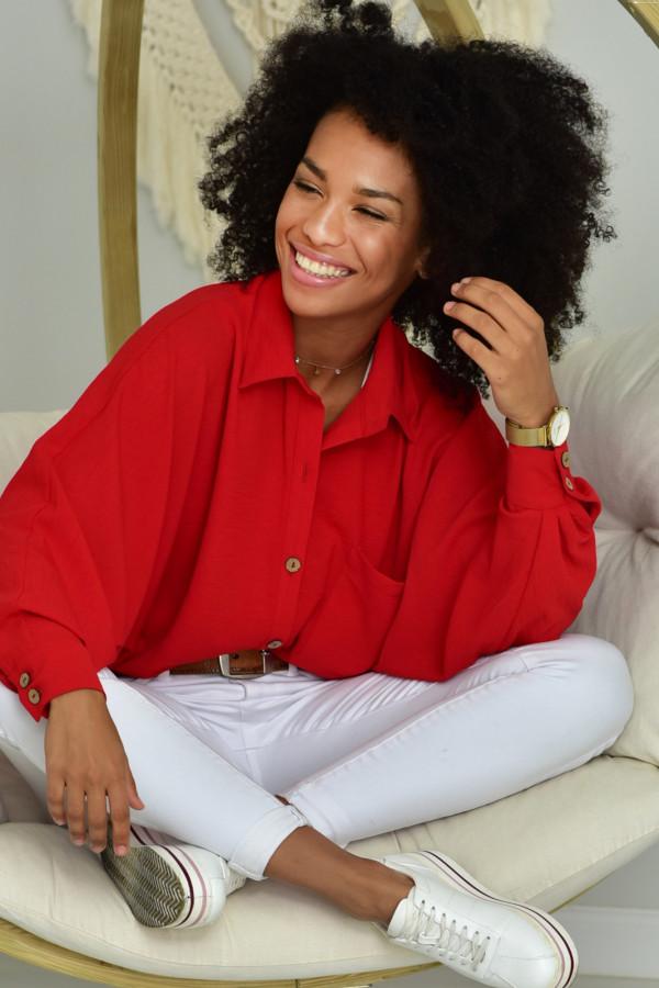Oversizeowa koszula MARTA w czerwonym kolorze