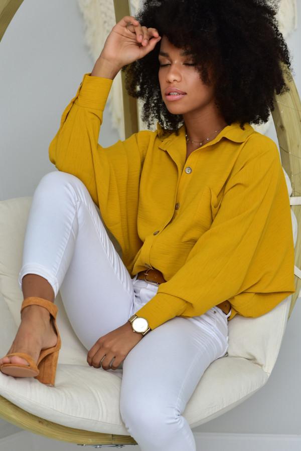 Oversizeowa koszula MARTA w musztardowym kolorze