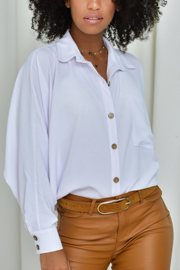 Oversizeowa koszula MARTA w białym kolorze