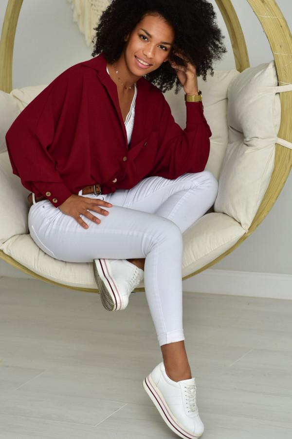 Oversizeowa koszula MARTA w kolorze bordo