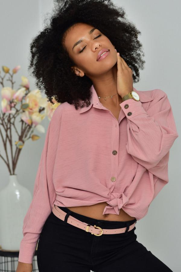 Oversizeowa koszula MARTA w kolorze pudrowego różu
