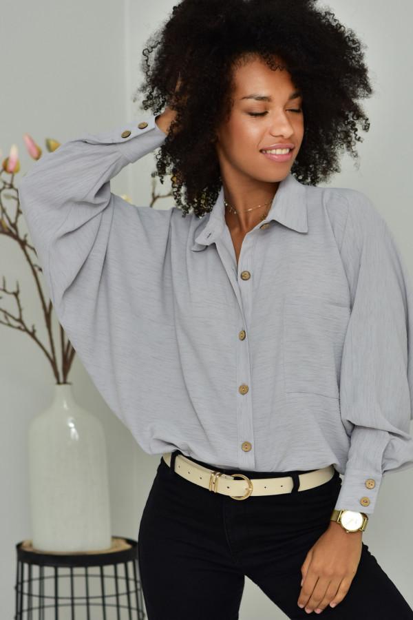 Oversizeowa koszula MARTA w szary kolorze