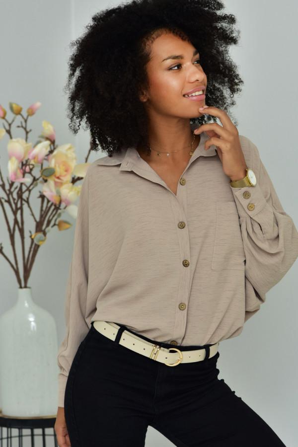 Oversizeowa koszula MARTA w kolorze pudrowego beżowu