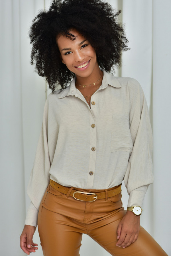 Oversizeowa koszula MARTA w kolorze pudrowego ecru