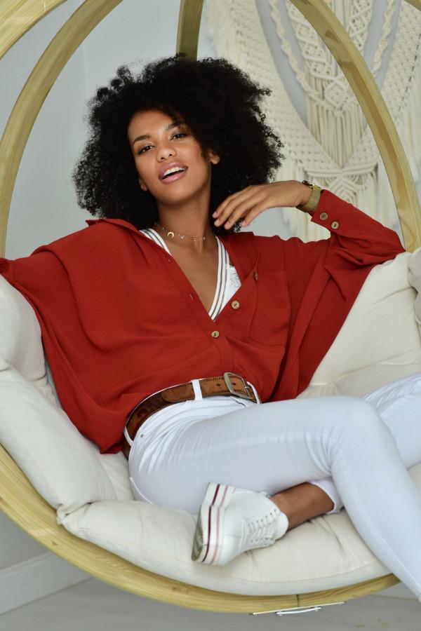Oversizeowa koszula MARTA w ceglana kolorze
