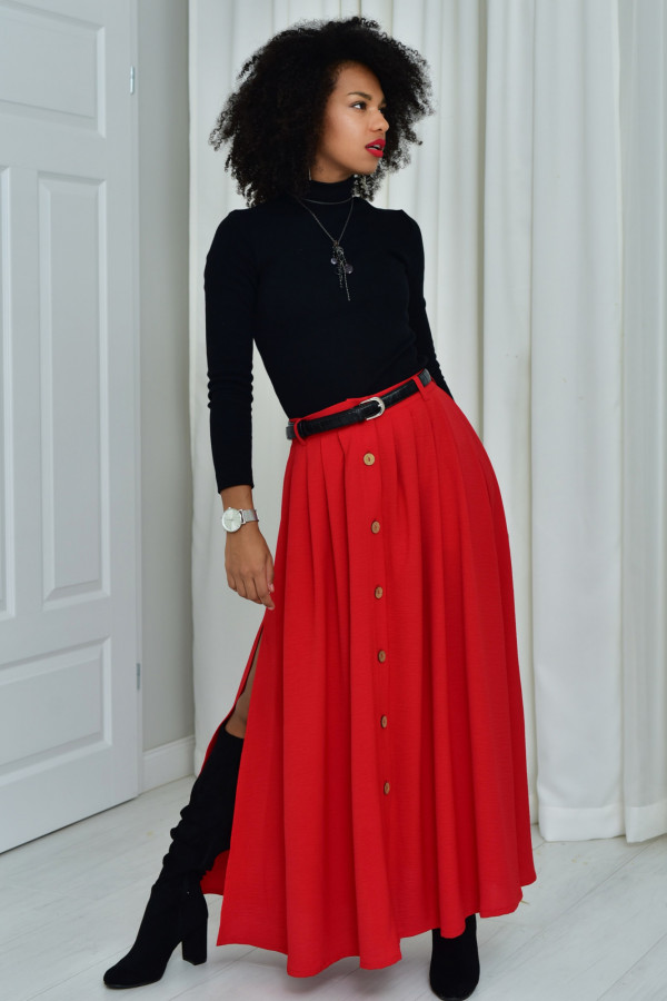 Cleo długa czerwona spódnica z guzikami