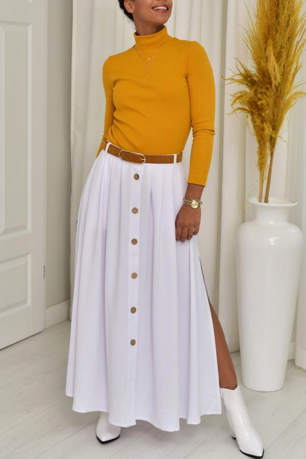 Cleo długa biała spódnica z guzikami