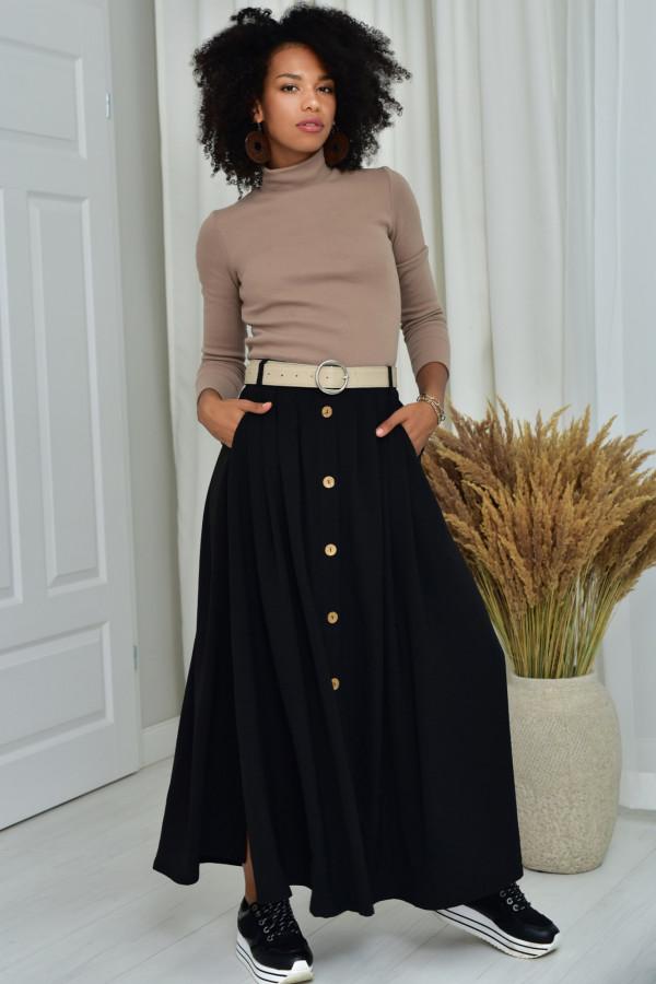 Cleo długa czarna spódnica z guzikami