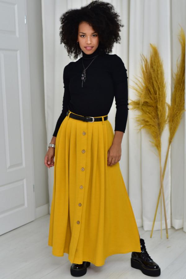 Cleo długa musztardowa spódnica z guzikami