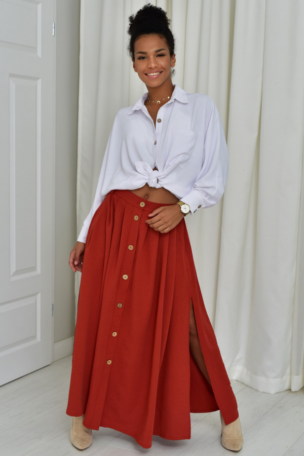 Cleo długa ceglasta spódnica z guzikami
