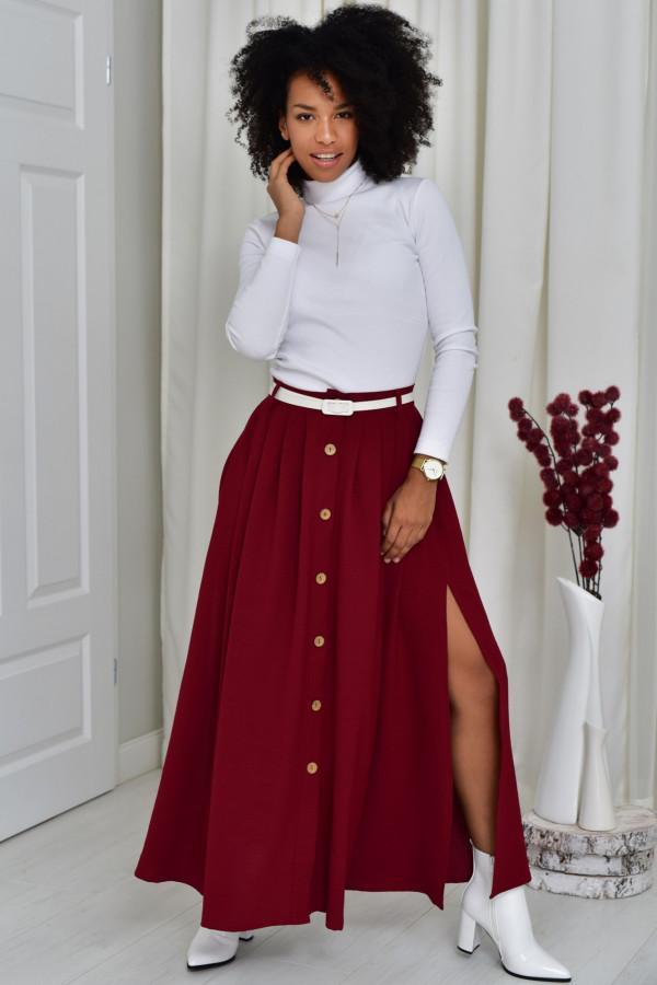 Cleo długa bordowa spódnica z guzikami