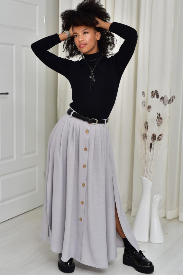 Cleo długa szara spódnica z guzikami
