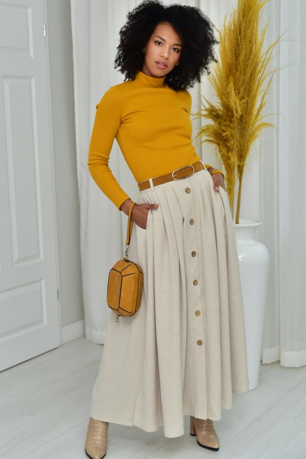 Cleo długa spódnica z guzikami w kolorze ecru