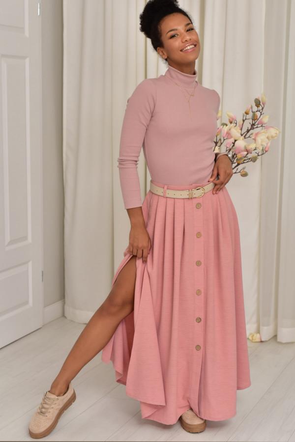 Cleo długa spódnica z guzikami w kolorze pudrowego różu