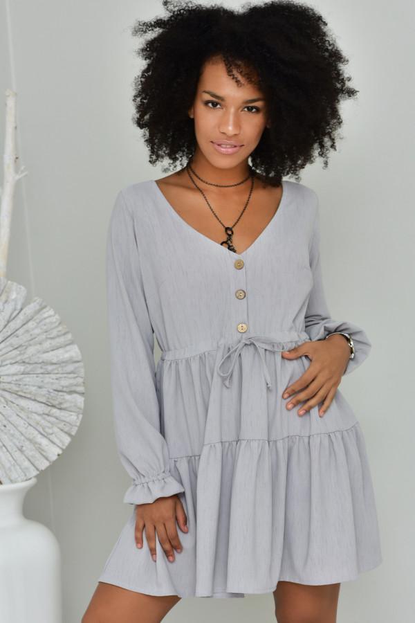 Sukienka Boho szara - oversize