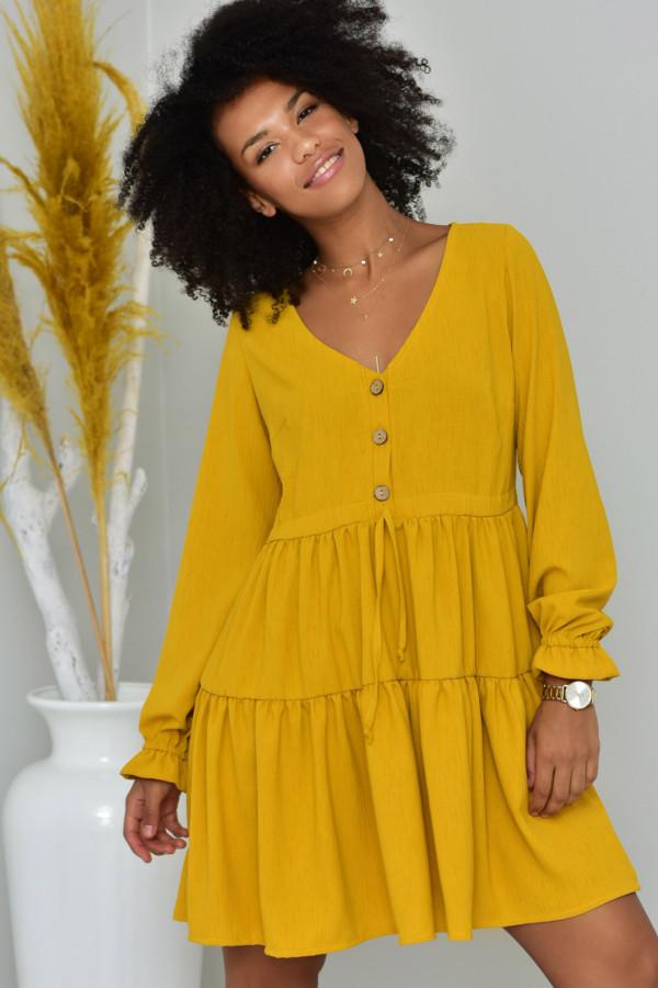 Sukienka Boho musztarda - oversize