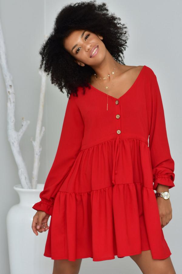 Sukienka Boho czerwona- oversize