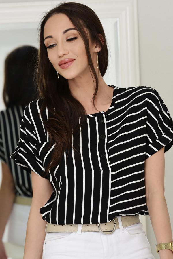 Bluzka z krótkim rękawkiem Hannah czarno-białe paski 015