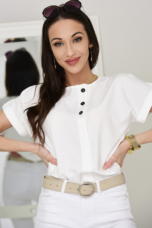 Bluzka z krótkim rękawkiem Hannah biała 015