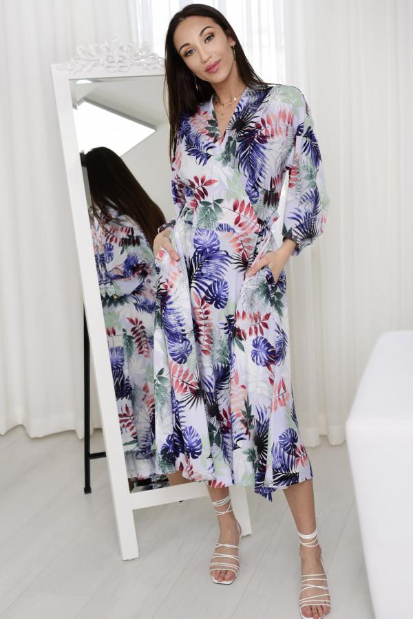 Sukienka wiązana Thalia w liście niebieski 006