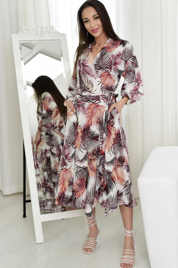 Sukienka wiązana Thalia w liście brąz 006