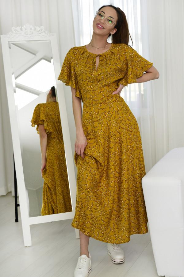 Sukienka Darline musztardowa z printem model 016