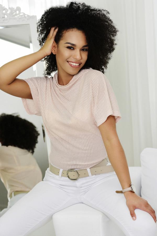 Bluzka IRINA prążek różowa melanż 008
