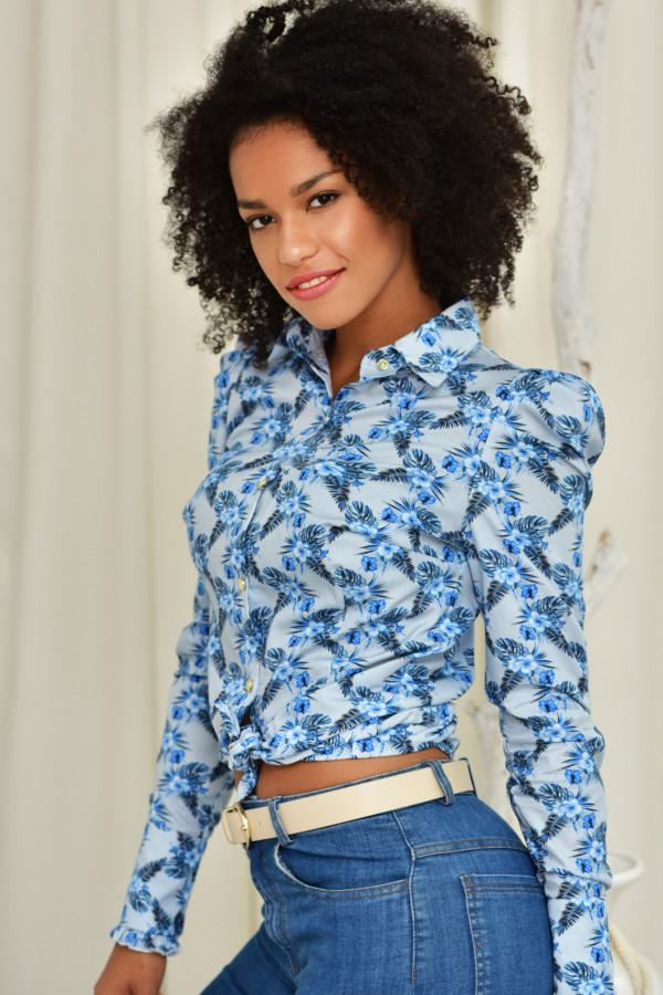 Koszula slim Kate kwiatki niebieskie 012