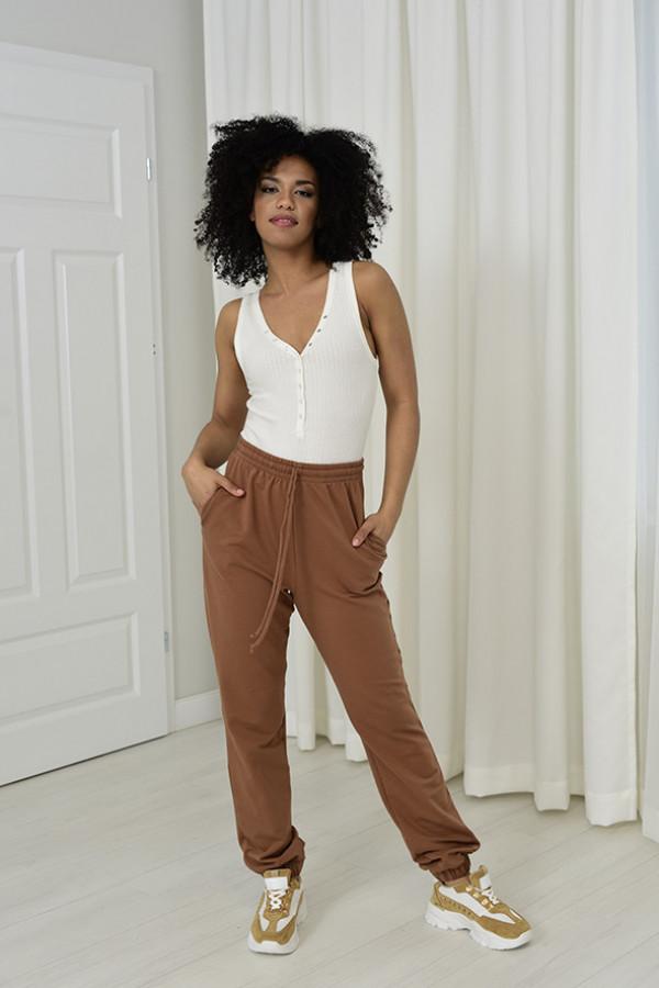 Spodnie dresowa Louise z wysokim stanem cynamonowy 032