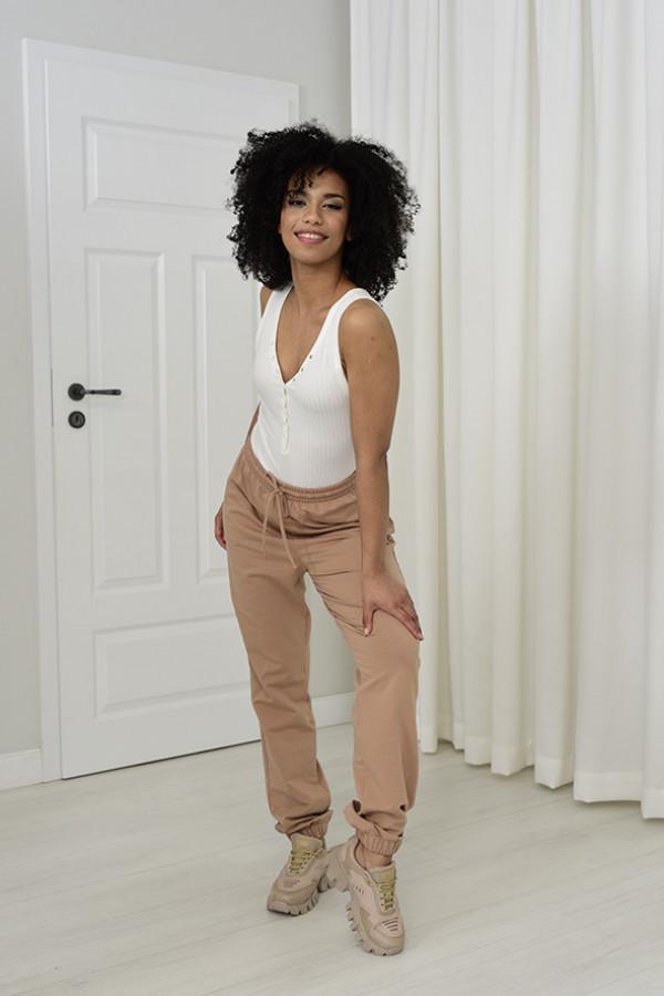 Spodnie dresowa Louise z wysokim stanem beżowy 032