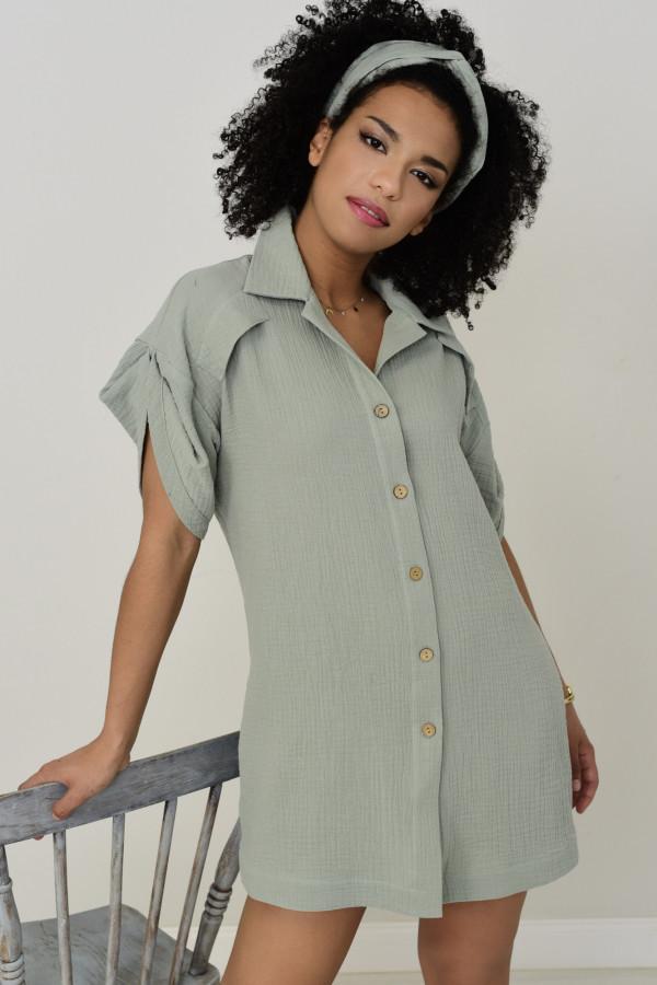 Długa koszula muślinowa Zoe pudrowa mięta 020