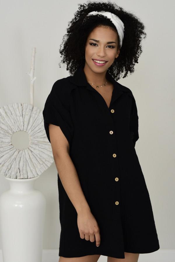 Długa koszula muślinowa Zoe czarna 020
