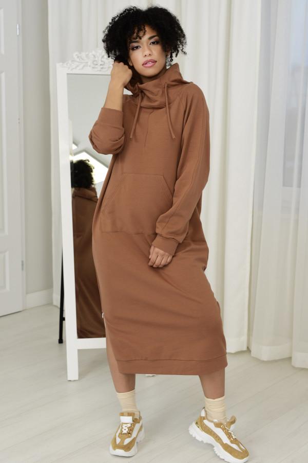 Sukienka dresowa GAJA CYNAMONOWA 034