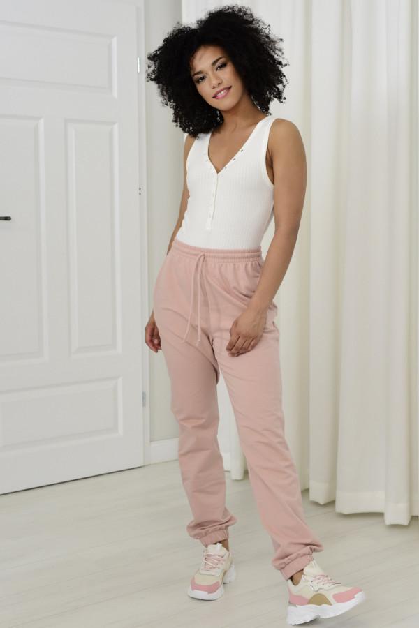 Spodnie dresowa Louise z wysokim stanem pudrowy róż 032