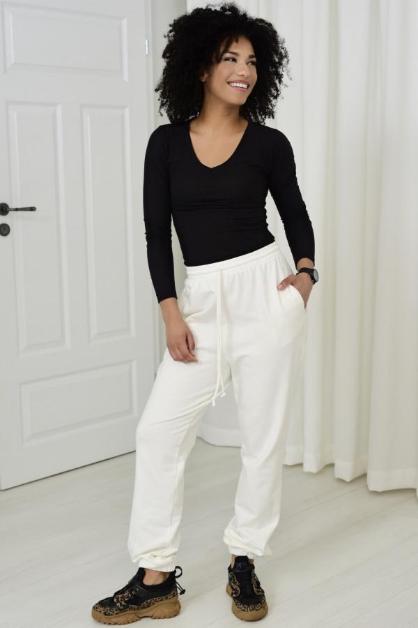Spodnie dresowa Louise z wysokim stanem biały 032