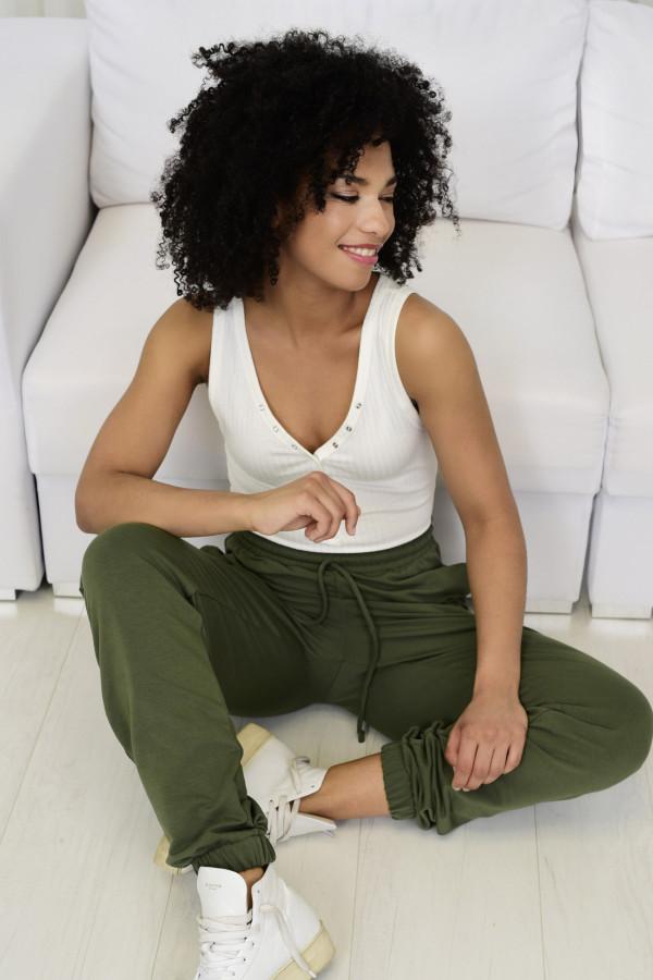 Spodnie dresowa Louise z wysokim stanem khaki 032