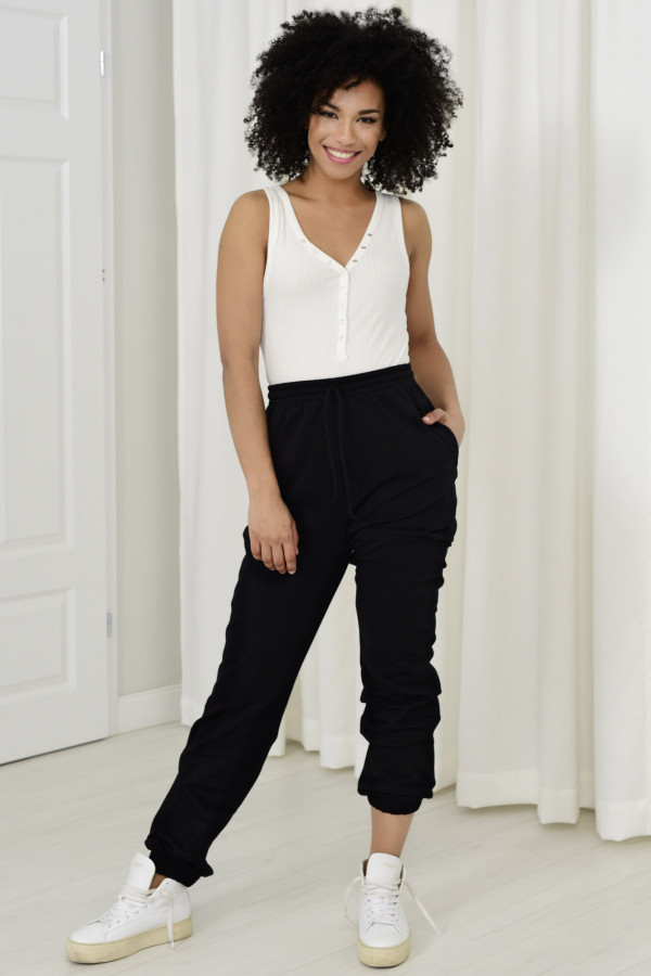 Spodnie dresowa Louise z wysokim stanem czarny 032