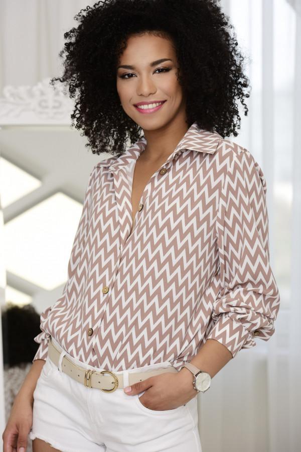 Koszula Selena beżowo-biała 024