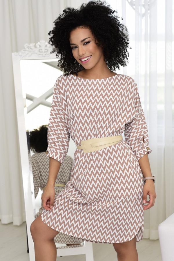 Sukienka w zygzaki Ava beżowo-biała 023