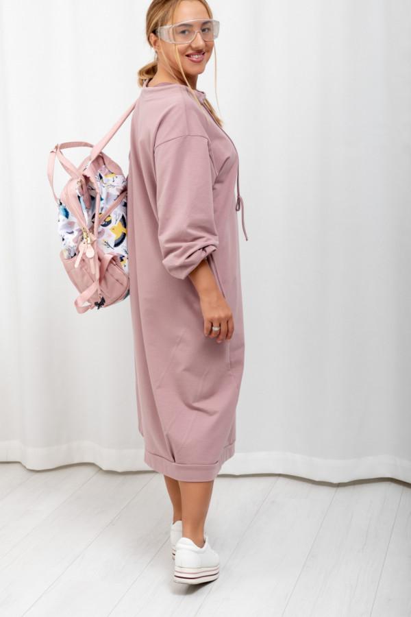 Sukienka dresowa Debby oversize pudrowy róż 061
